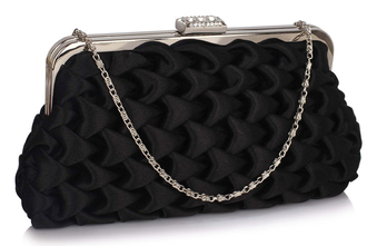 LSE00321- Black Wave Folds Evening Clutch Bag