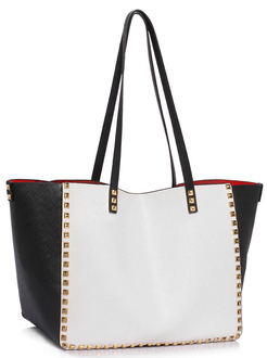 LS00477 - Black / White Studded Shoulder Handbag