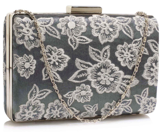 LSE00324 - Classy Grey Ladies Lace Evening Clutch Bag