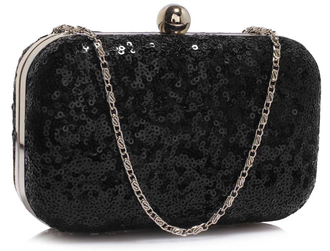 LSE00325 - Black Sequin Clutch Bag