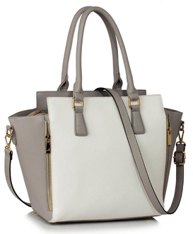 LS00314A - Grey /White Zipper Tote