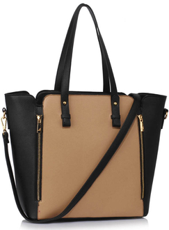 LS00502 - Black / Nude Zipper Shoulder Bag
