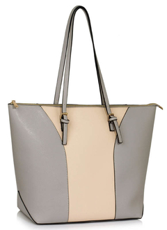 LS00496 - Large Grey / Nude Shoulder Handbag