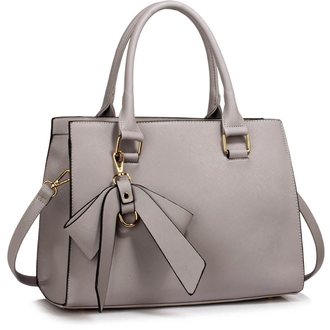 LS00374C - Grey Grab Bag With Bow Charm