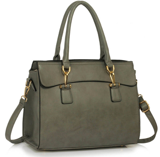 LS00342 - Grey Women's Tote Bag With Polished Hardware