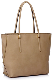 LS00494 - Wholesale & B2B Taupe Zipper Detail Shoulder Bag Supplier & Manufacturer