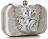 LSE00326 - Silver Satin Pleated Flower Front Clutch Bag