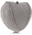 LSE00330 - Silver Sparkly Crystal Diamante Heart Shaped Clutch Evening Bag