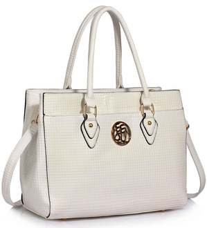 LS00511 - White Metal Detail Grab Tote Handbag