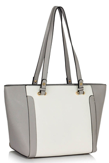 LS00497 - Grey /White Grab Shoulder Handbag