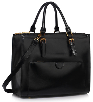 LS00366A  - Black Front Pocket Grab Tote Handbag