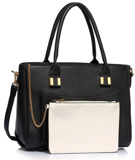 LS00313A - Black Tote With Removable Pouch