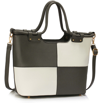 LS00111 - Grey /White Fashion Tote Handbag