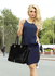 LS00456 - Black Zipper Tote Shoulder Bag
