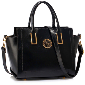 LS00338 - Black Metal Detail Grab Tote Handbag