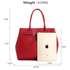 AG00447 - Burgundy Tote Handbag Features Buckle Belts