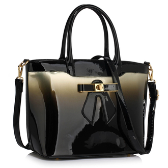 LS00132 - Silver Patent Two-Tone Bow Front Handbag
