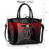 LS00132 - Burgundy Patent Two-Tone Bow Front Handbag