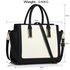 LS00338B - Black /White Grab Tote Handbag