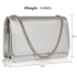 AGC00342 -  Silver Large Flap Clutch purse