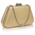 LSE00334 - Gold Diamante Crystal Clutch Bag