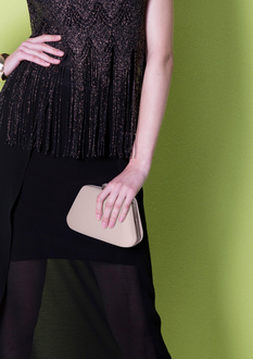 LSE00334 - Nude Diamante Crystal Clutch Bag