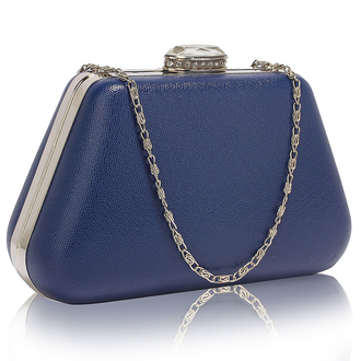 LSE00334 - Navy Diamante Crystal Clutch Bag