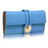 LSP1078 - Blue Purse/Wallet With Gold Tone Metal