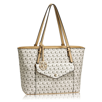 AG00535 - White Women's Front Pocket Large Tote Bag
