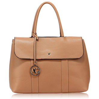 AG00538 - Nude Satchel Grab Shoulder Handbag