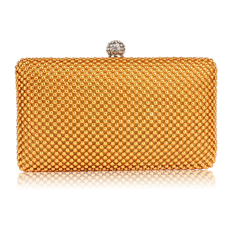 LSE00278 - Gold Crystal Beaded Evening Clutch Bag