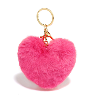 AGC1014 - Hot Pink Fluffy Heart Bag Charms