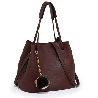 AG00190 - Burgundy Hobo Bag With Faux-Fur Charm