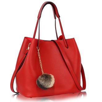 AG00190 - Red Hobo Bag With Faux-Fur Charm