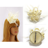 AGF00209 - Ivory Mesh Hat Feather Fascinator