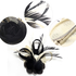 AGF00209 - Black / Ivory Mesh Hat Feather Fascinator