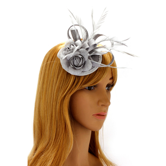 AGF00209 - Grey Mesh Hat Feather Fascinator