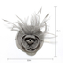 AGF00212 - Grey Feather & Flower Mesh Hat Fascinator