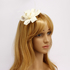 AGF00213 - Ivory Feather & Flower Fascinator On Clip