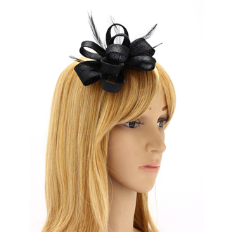 AGF00213 - Black Feather & Flower Fascinator On Clip