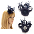AGF00214 - Navy Feather & Flower Fascinator