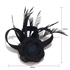 AGF00214 - Black Feather & Flower Fascinator