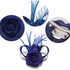 AGF00214 - Royal Blue Feather & Flower Fascinator