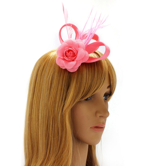 AGF00214 - Pink Feather & Flower Fascinator