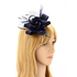 AGF00215 - Navy Feather & Flower Hair Fascinator