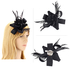 AGF00215 - Black Feather & Flower Hair Fascinator