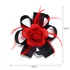 AGF00216 - Black / Red Feather & Flower Hair Fascinator On Clip