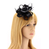 AGF00216 - Black Feather & Flower Hair Fascinator On Clip