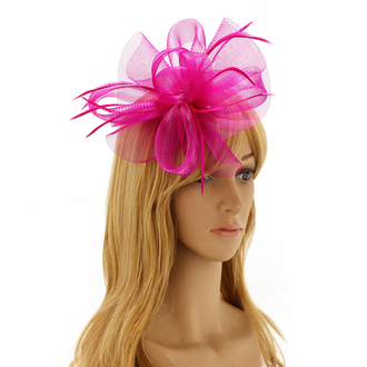 AGF00217 - Purple Feather & Mesh Hair Fascinator