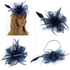 AGF00218 - Navy Feather & Flower Mesh Fascinator